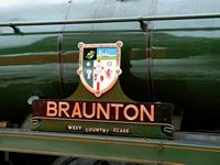 34046 Braunton's nameplate while waiting to head the 09:30 service to Heywood from Platform 2 at Bury Bolton Street Station - Chris Taylor